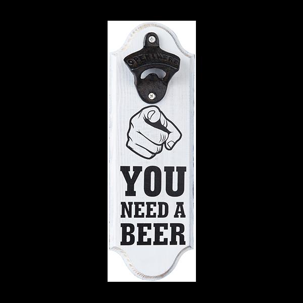 YOU NEED A BEER פותחן בקבוקי בירה תלוי על קיר
